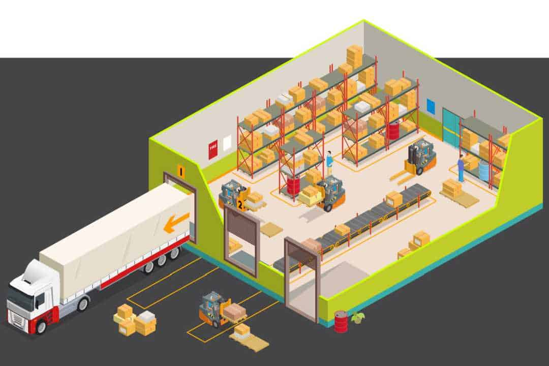 Illustration of warehouse with truck