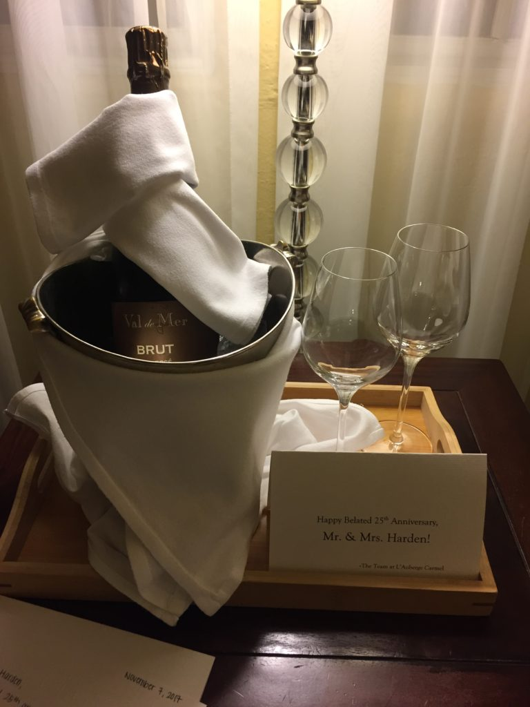 The treat awaiting us in our room at L'Auberge