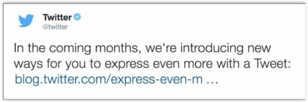 Now you can express yourself in 140 characters and still add photos and URLs.