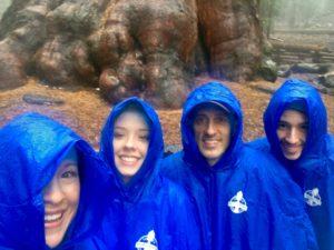 my family in rain ponchos