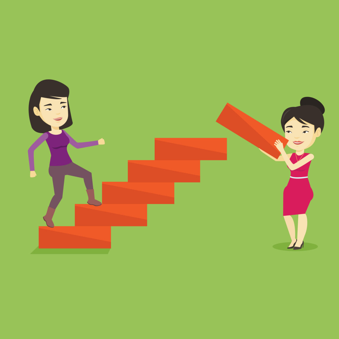 graphicstock asian businesswoman runs up the career ladder while another woman builds SBI  scaled