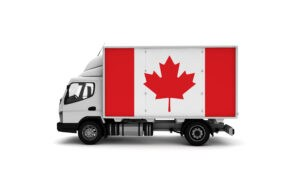 Delivery van with Canada flag. logistics concept