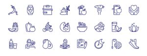 Simple set of outline icons about healthy lifestyle