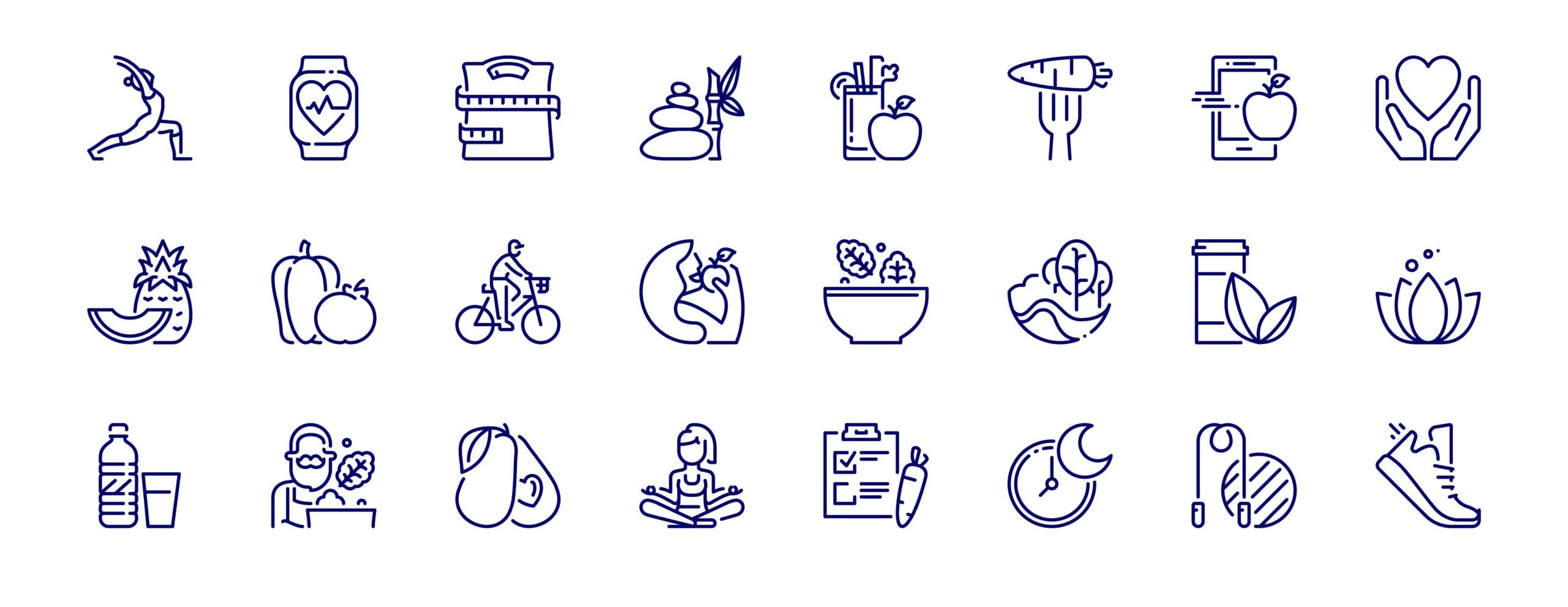 Simple set of outline icons about healthy lifestyle. Editable stroke. Vector - 256x256 pixel perfect.