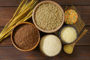 assortment of different grains – buckwheat, rice, lentils, quinoa