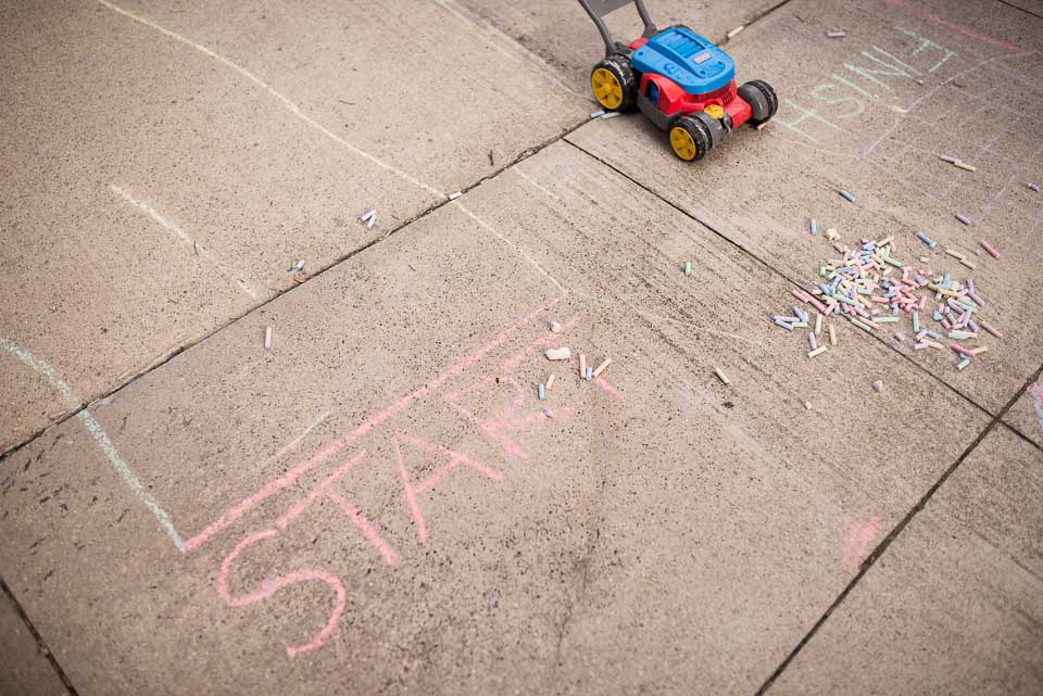 Sidewalk chalk marks out family racetrack at East Grand Rapids family home