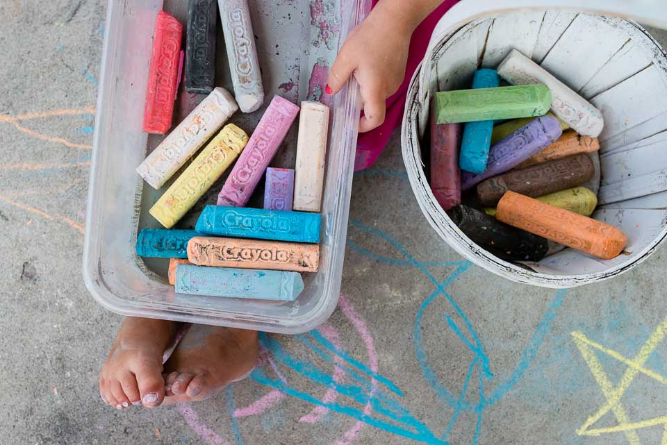 Sidewalk chalk close up image during family photography session