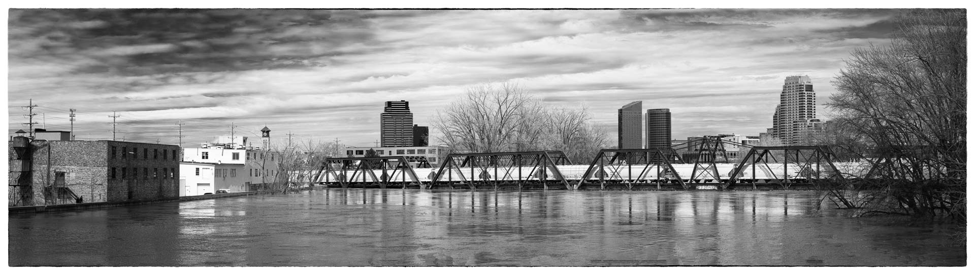 Floodwater View from Wealthy Street Bridge, Grand Rapids, 2013