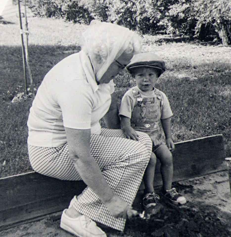 Childhood photograph boy and grandmother