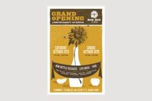 Blue Bee Cider Grand Opening Poster