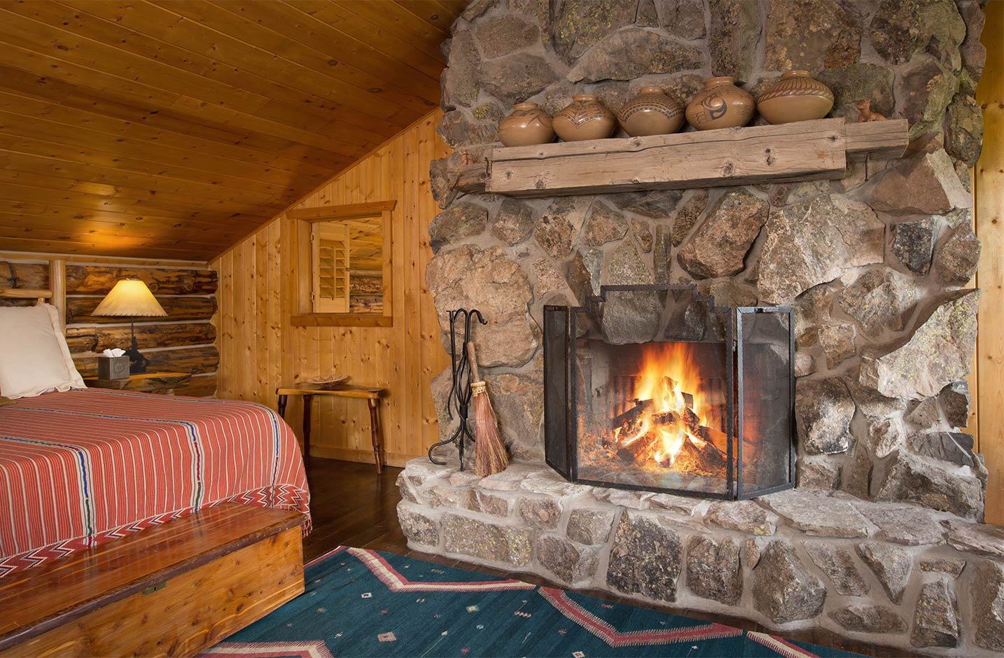 Wood burning fireplace in the master bedroom