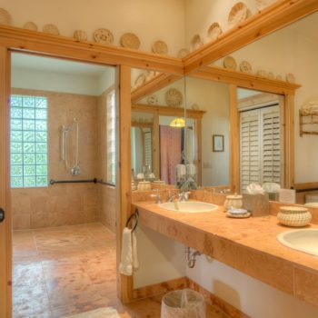 open bathroom space with sinks and shower