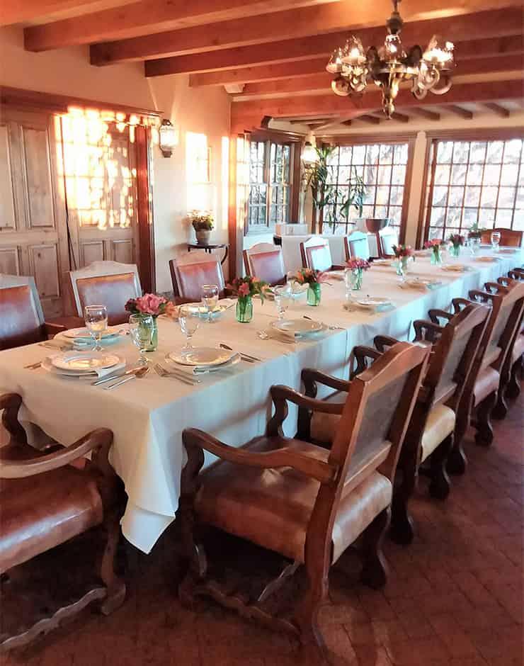 Long table set for dinner