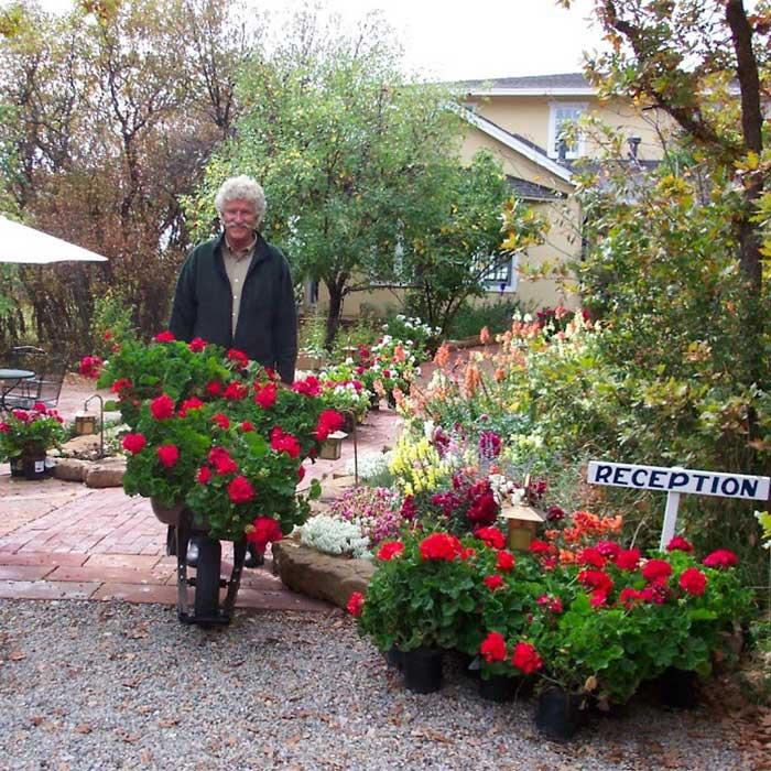 David with a wheelbarrow full of flowers