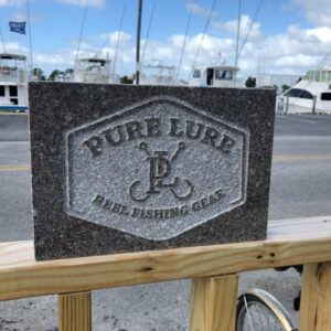 Pure Lure, Commercial Business Signage, Granite, custome engraved by Arlington Memorials