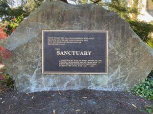 bronze plaque on large stone