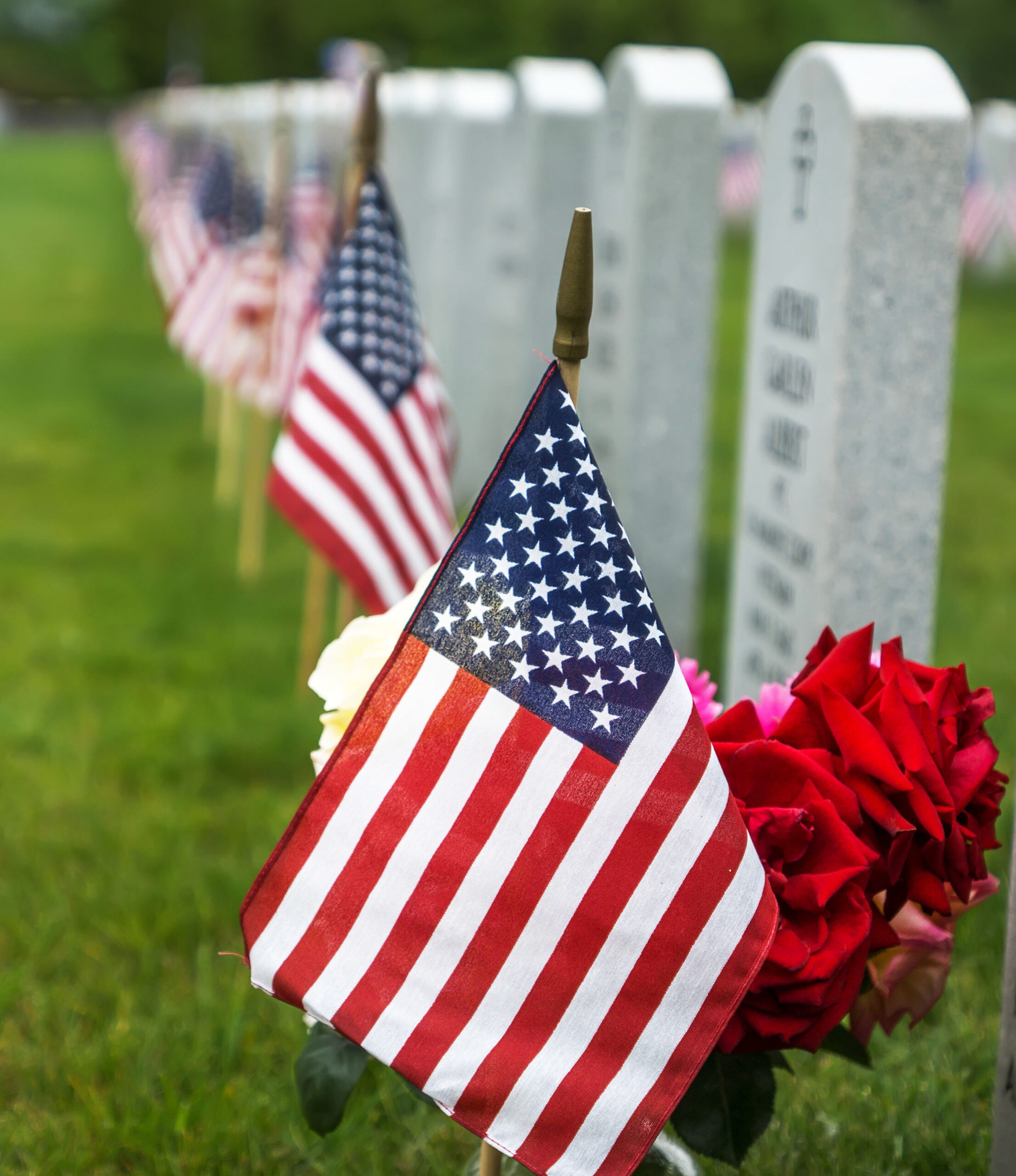 American flags and  tombstones at an American National Cemetery.