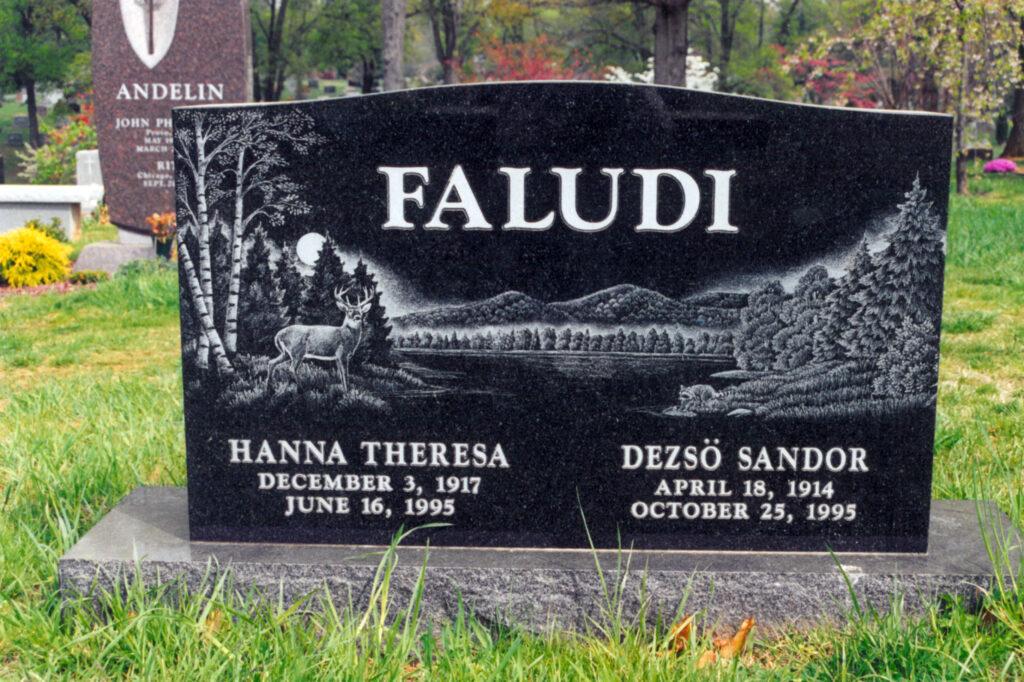 Black granite custom engraved headstone