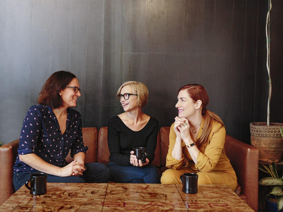 Less Alone: A Podcast About Connection. Denver Podcasters Amy Moore, Anna Newell Jones, Erin Linehan