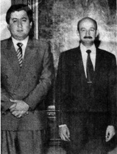 Mexican federal police commander Guillermo Gonzalez Calderoni (left) with Carlos Salinas de Gortari, president of Mexico from 1988 to 1994, in this undated photo.