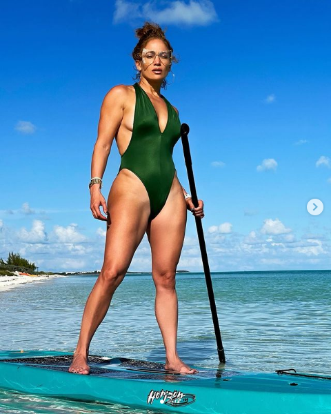 Jennifer Lopez On The Beach-Celebrities at the Beach In 2021