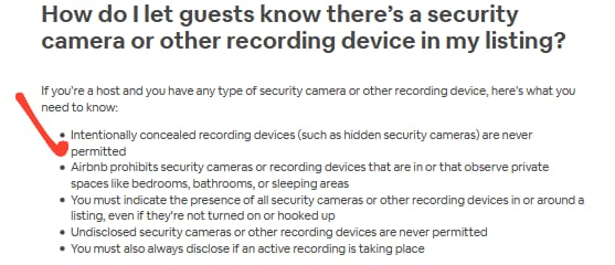 airbnb cameras hidden
