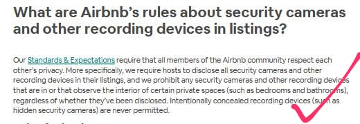 does airbnb have cameras hidden