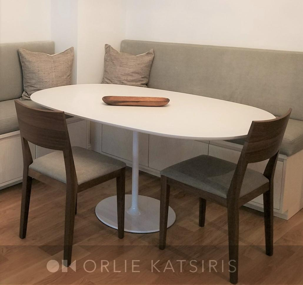 Dining Room & Dining Banquette Bench Seating Area renovated, designed & styled by Orlie Katsiris Staging & Interiors