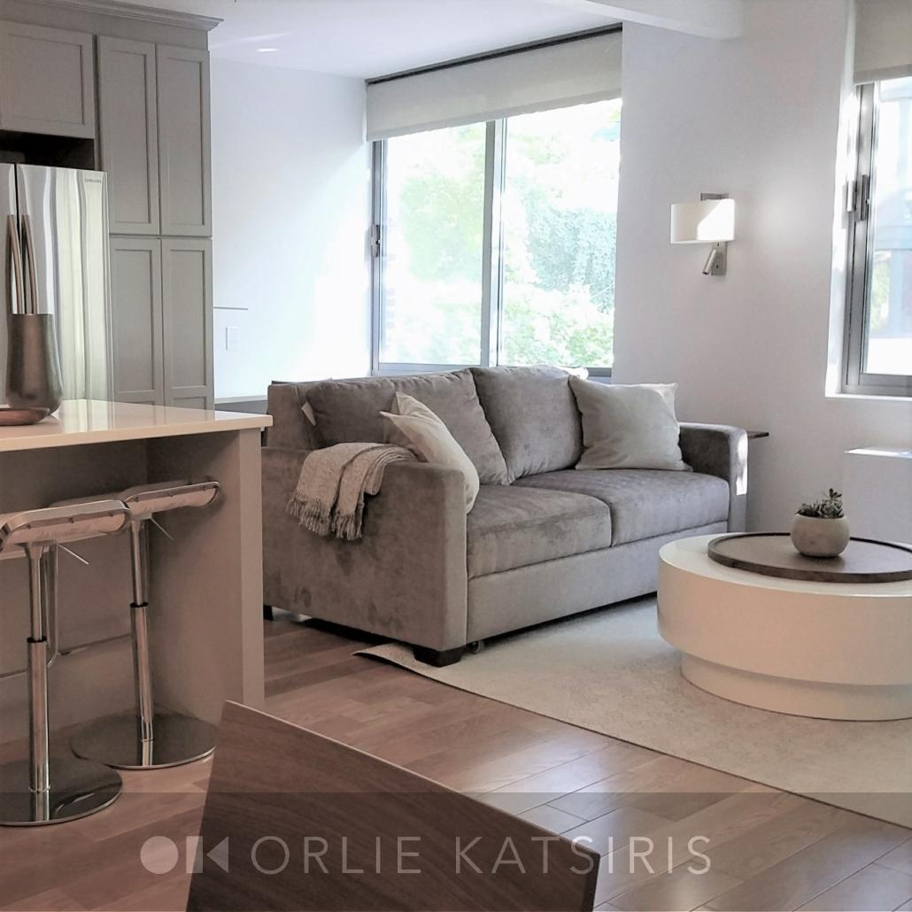 Living Room & Kitchen Area renovated, designed & styled by Orlie Katsiris Staging & Interiors