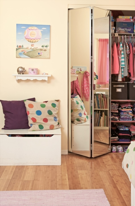 Kids Bedroom & Girls Bedroom Closet renovated, designed & styled by Orlie Katsiris Staging & Interiors