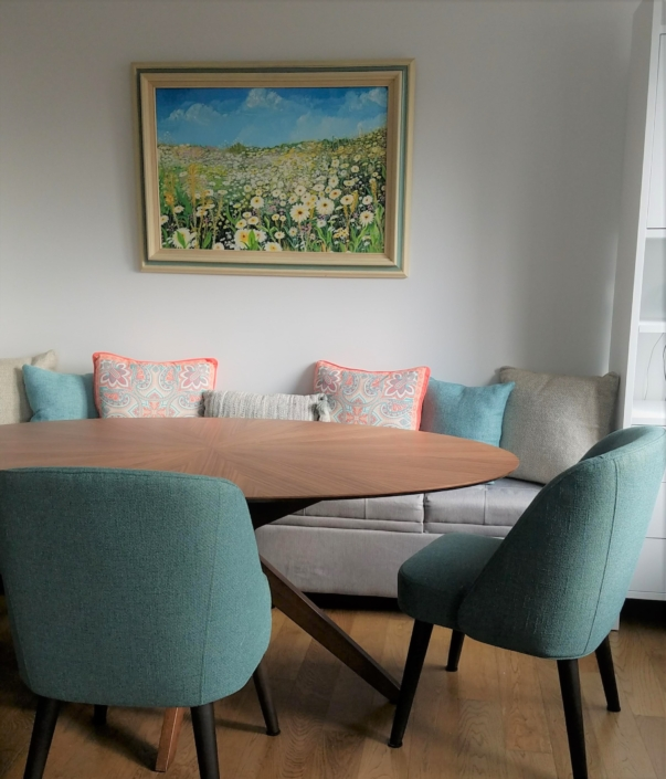 Dining Room, Dining Area & Banquette seating renovated, designed & styled by Orlie Katsiris Staging & Interiors