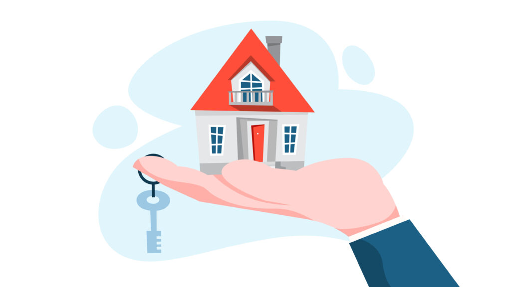 Real estate agent or broker concept. House sale offering. Hand holding building and keys. Vector illustration in cartoon style