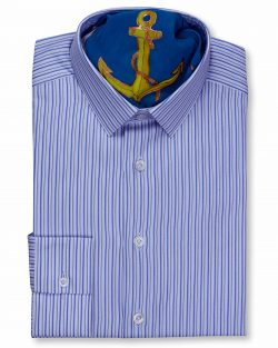 FERRUCCIO MILANESI CLASSIC STYLE COLLAR SLIM FIT WHITE NAVY MULTI STRIPED SHIRTS, TAILOR MADE UNIQUE SHIRT, SILK AND COTTON FABRICS, LUXURY MEN'S SHIRT IN VANCOUVER