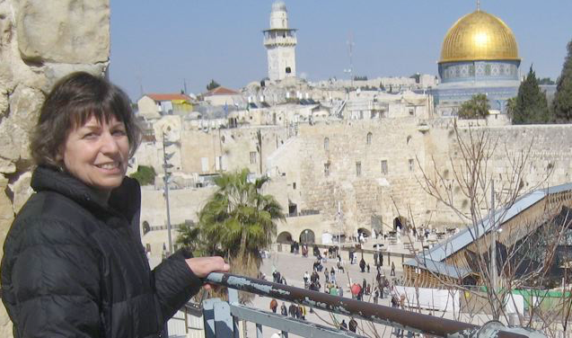 Kathy at Dome of the Rock and Western Wall, Jerusalem February 2010