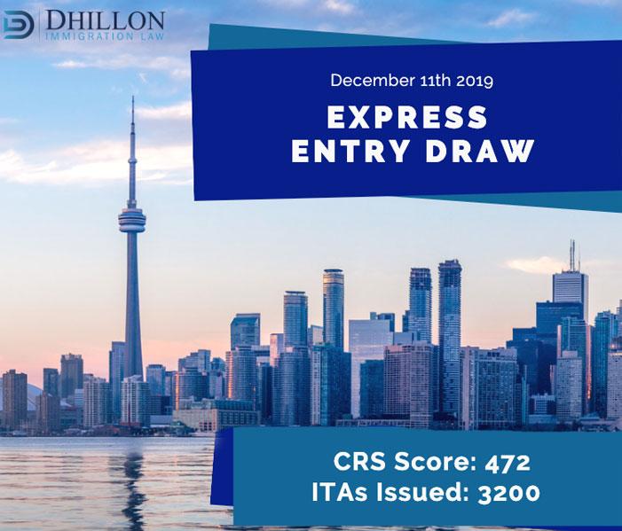Express Entry Draw – Dec 11th, 2019