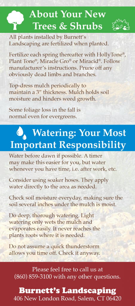 Burnett's Landscaping Watering Information Card
