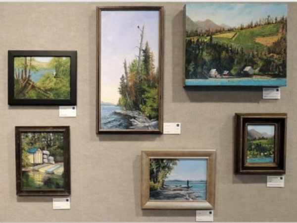framed art on the wall at the 2021 Scene & Unseen Exhibit at Bigfork Art & Cultural Center