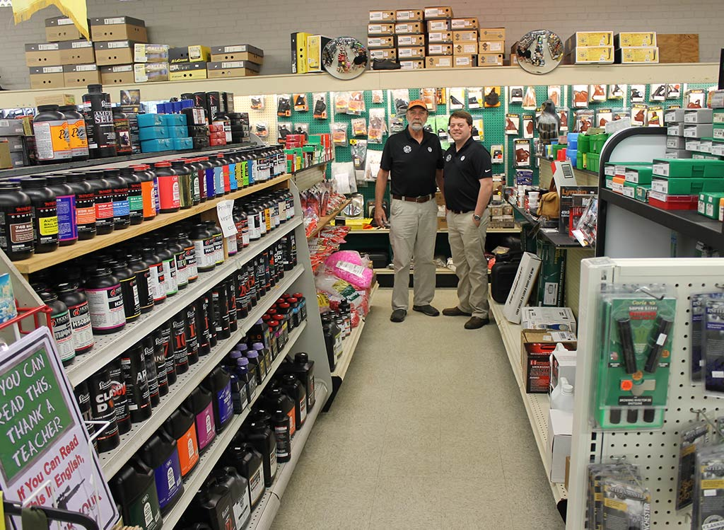 Ben and Joe in the reloading isle at Four Seasons Sports