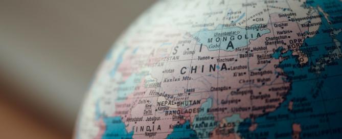 world map globe showing china