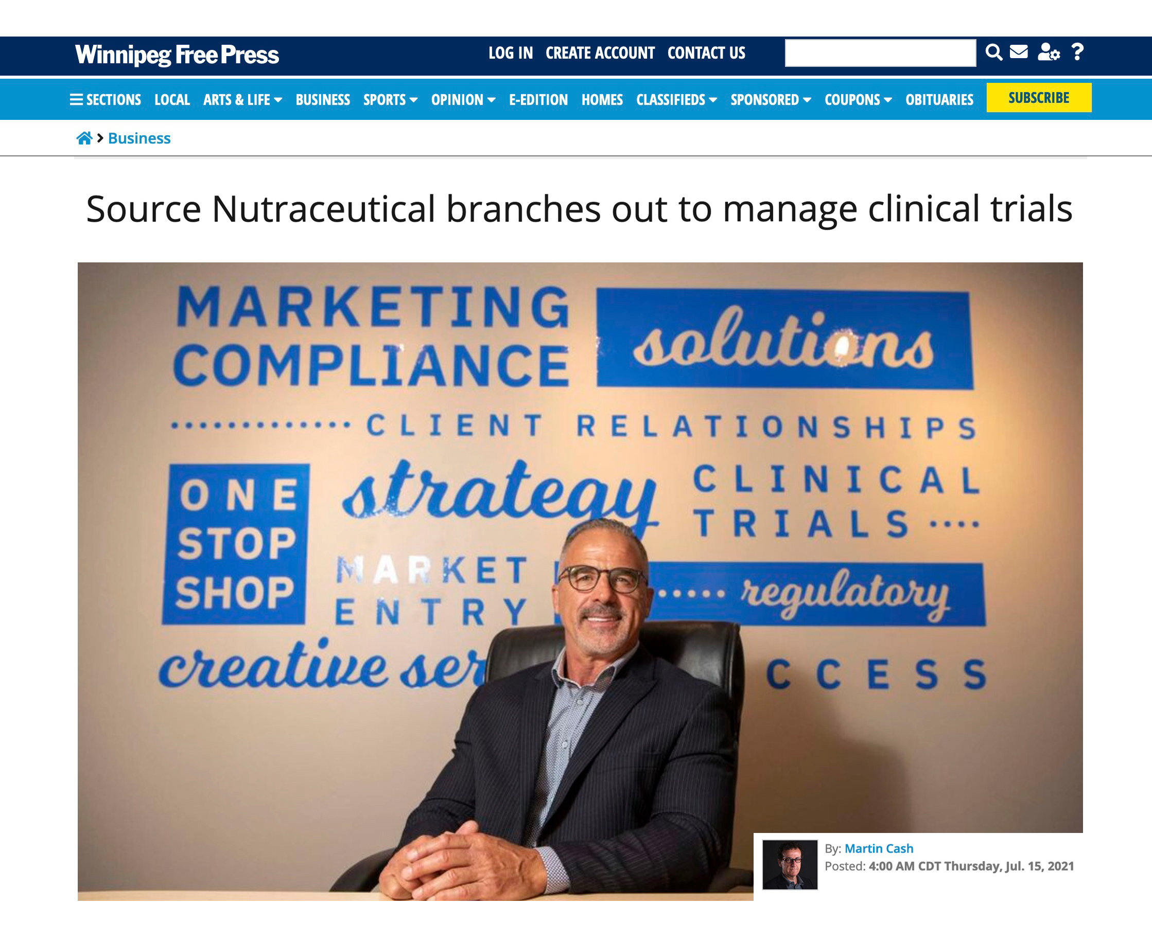 SNI Clinical Trial Services featured in Winnipeg Free Press