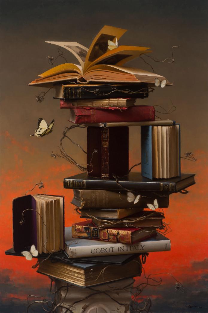 Books and Butterflies 4, 36 x 24, 2017