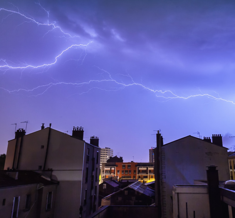 roof with lightning at the back