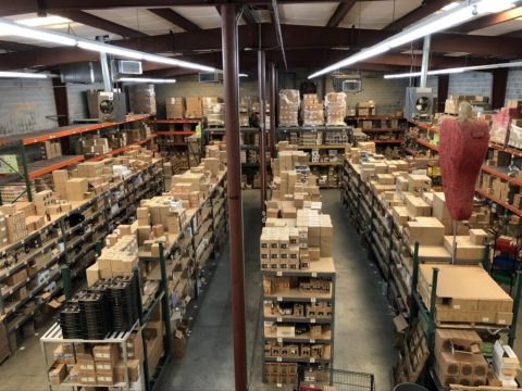 Warehouse photo from mezzanine above offices.