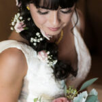 Tahoe Wedding Bride Sarah with Detailed Flower Hair Arrangement and Glam Makeup