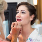 Founder, Linda, Applying Bride's Makeup for Lake Tahoe Wedding