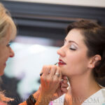 Founder, Linda, applying Bride Taylor's Makeup for Lake Tahoe Wedding