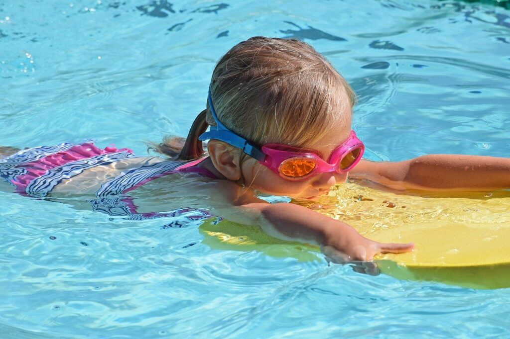 young swimmer, child, kick board