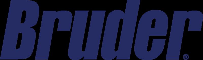 A blue Bruder logo