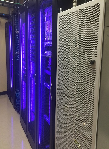 MDF Room with Eaton 3-Phase UPS and Front Rack Lighting