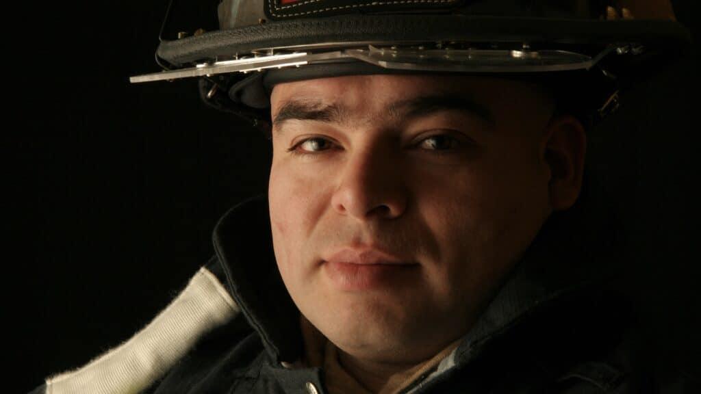Firefighter in soft light